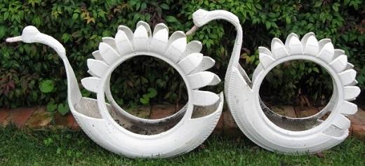 Один из простых вариантов лебедя, сделанного из шины