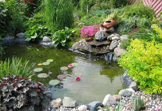 Рокарий с водоемом в саду